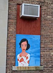 Woman, Binghamton, NY (Robby Virus) Tags: binghamton newyork ny state upstate street art woman portrait painting lady girl