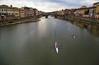 Rowing on the Arno (Jan Kranendonk) Tags: florence firenze italy italian europe buildings houses landmark sky bridge river arno water morning vecchio pontevecchio rowing boat sport watersport