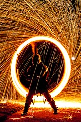 knights tale 100 (photoautomotive) Tags: newhaven eastsussex england uk europe wirewool spinning spin sparks wheel light longexposure lightpainting ancient armour 13thcentury outside outdoor old sword