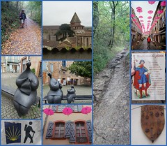 Day 9- Jour 9 sur le chemin. (France-♥) Tags: collage day9 france moissac viapodiensis chemin gr65 parapluie octobrerose sculpture jeanlouistoutain toutain art sentier