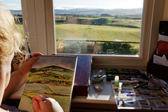 An artist's veiw. (alan.irons) Tags: artist painting watercolour paper view paints brushes landscape strathmore valley angus scotland eos5dmkiv ef2470f28llusm canon window craigton
