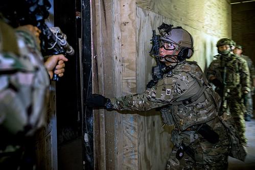U.S., ROK service members conduct close quarter battle tactics, techniques and procedures aboard Naval Base Guam