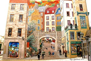 LARGE WALL PAINTING of the HISTORY  of QUEBEC CITY  ( GRAFITTI )