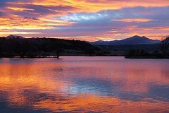 Once Upon a Time In the West (Patricia Henschen) Tags: frantz lake frantzlake swa statewildlifearea salidacolorado collegiatepeaks mountains clouds sunset catchycolors sawatchrange upperarkansasrivervalley salida colorado autumn reflection