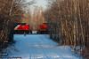 "Nice to ""meet you"" (Going Trackside Photography) Tags: canadian national railway canada alberta carvel explore railroad intermodal grain train ge crew snow trees road tracks cnr cn cnrail rail"