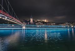 Blue ghost (Sizun Eye (OFF for a while)) Tags: ghost blue old town lyon footbridge bridge saône river basilica church cityscape night reflections boat sizuneye nikkor1424mmf28 nikkor nikond750 d750 le longexposure poselongue