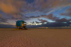 Futurescape (Tazmanic) Tags: lifeguard lifeguardtower southpointe southbeach miamibeach florida sand water dawn atlanticocean clouds cloudscape landscape seascape timedexposure