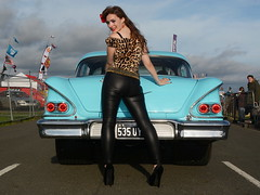 Holly_7808 (Fast an' Bulbous) Tags: girl woman pinup model classic car chevy chevrolet santapod leopard print leather pvc jeans leggings people outdoor vehicle american automobile long brunette hair high heels stilettos shoes beauty