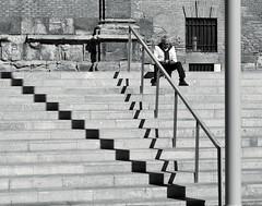 Smartphoneman & steps & shadows (Fencejo) Tags: canon400dxti bwstreetcityblackandwitemonochrome snapseed fineart zaragoza tamronspaf2875mmf28xrdild