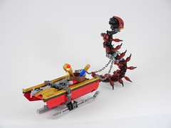 Captain Bravebeak and his Haul or Treasures (Anthony (The Secret Walrus) Wilson) Tags: bionicle lego moc pirate kaita biocup biocup2017 afol caterpillar pet sled sleigh snow dragon bird
