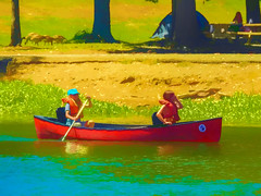 Two Girls in a Canoe Digital Art - Happy Sliders Sunday (randyherring) Tags: girls canoe losgatos cacalifornia trees park outdoors recreation sunny scenic california landscape beautiful scene lake summer vibrant water sport afternoon reservoir colorful shoreline nature vasonalakecountypark