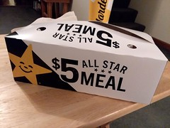 All Star Meal Box. (dccradio) Tags: lumberton nc northcarolina robesoncounty hardees allstarmeal fastfood fastfoodday snack supper dinner lunch eat meal food hamburger cheeseburger doublecheeseburger cheese onions meltedcheese onionrings fries frenchfries hotdog chilidog cookie chocolatechipcookie dessert sweet treat samsung galaxy smj727v j7v cellphone cellphonepicture