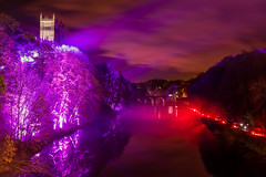 Durham Lumiere (Jamesylittle) Tags: durham river lights sky colour pink red fog mist cathedral trees castle city