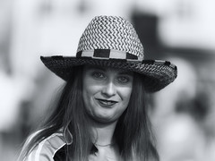 Great Hat - Great Smile (Frank Fullard) Tags: frankfullard fullard hat big smile monochrome fan football mayo castlebar irish ireland candid street portrait face blackandwhite