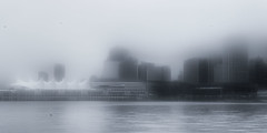 B&W Foggy Day (beelzebub2011) Tags: canada britishcolumbia vancouver stanleypark canadaplace icm intentionalcameramovement bw monochrome fog