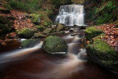 Tigers Clough (Pete Rowbottom, Wigan, UK) Tags: landscape waterfall autumn colourful longexposure art red green yellow outdoors river tree stream flowingwater rocks moss foliage rivingtonpike tigersclough falls cascade peterowbottom lancashire bolton autumnleaves peaceful dramatic remote nature local nikond750 wideangle leefilters jepsonsclough rivington uklandscape northwestengland anglezarke woodland rainfall waterscape flow water britishwoodland geotagged