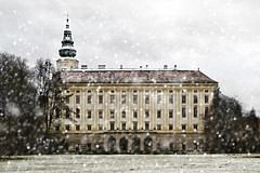 Winter in Kromeriz (tomas.jezek) Tags: kromeriz castle chateau czechia park unesco history heritage snow winter snowflakes snowy snowing trees white architecture building