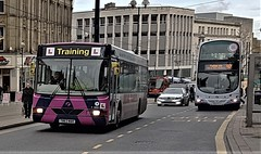 A Rose Between 2 Thorns. (ManOfYorkshire) Tags: t863mak wright renown volvo b10ble first bus group buses stagecoach tram mercedes car highst sheffield citycentre 60681 863 mainline 1999 2017 driver training learner fleet