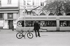 (Ah - Wei) Tags: kentmere400bw bw film d76 street zagreb croatia people streetcar tram man bicycle