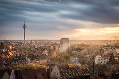 After a rainy day (hasan.bryiez) Tags: deutschland old bildings towr europe germany street blue sunset travel house castel architecture cityscape christian church bavaria light sunlight night yallow sky ge