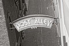 Post Alley (pete4ducks) Tags: decay urban seattle 2016 blackandwhite travel vacation city on1pics postalley sign bricks washington sonyalpha mirrorless raw 500views