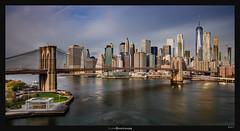 Brooklyn Bridge Skyline (Ilan Shacham) Tags: landscape cityscape skyline manhattan ny nyc water reflection bridge beauty pano panorama buildings architecture skyscraper fineart fineartphotography us usa city