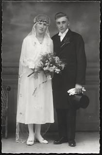 Archiv O018 Brautpaar in Marienberg, Sachsen, 1920er