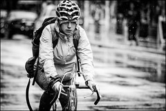 Sunday Rian Rider (Dan Dewan) Tags: centretown dandewan bicycle canon7dmarkii street people canon canonef7020014lusm cyclist 2017 portrait sunday water ottawa woman october ontario bankstreet bw rain girl lady