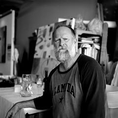 1890 Bryant - Randy in his studio (TPStearns) Tags: monochrome film rolleiflex 35f trix art bw portrait
