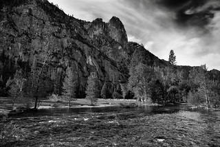 While Out on a Morning Stroll, I Came Upon a River and Saw Mountains (Black & White, Yosemite National Park)