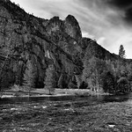 While Out on a Morning Stroll, I Came Upon a River and Saw Mountains (Black & White, Yosemite National Park) thumbnail