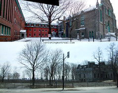 Before / After : Franciscan church (Vanishing Montréal) Tags: history villedemontreal montreal histoire photography art architecture demolition disappearinghistory newconstruction