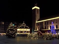 Christmas lights in an Ostend square (TeaMeister) Tags: train trains boat interrail seat61 belgium belgian coast ostend tram beach skies sculpture cartoons europe europeanunion unioneuropeenee beer chocolate christmas christmaslights createyourownstory