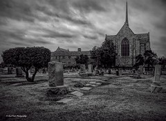 """The Grave Yard """"May Ye Rest in Peace"""" (Kool Cats Photography over 9 Million Views) Tags: tombstones cemetery church bw dark eerie blackandwhite monochrome"""