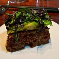 avocado and liquid toast at Saison (Fuzzy Traveler) Tags: saison finedining sanfrancisco restaurant soma food liquidtoast avocado greens toast bread