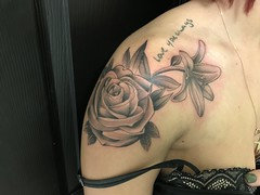 Rose and Lilly tattoo by Wes Fortier @ Burning Hearts Tattoo Co. Waterbury, CT. Instagram: @wesdtc Facebook: facebook.com/burningheartstattoo