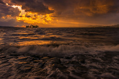 sunset 2893 (junjiaoyama) Tags: japan sunset sky light cloud weather landscape orange contrast color bright lake island water nature fall autumn rays beams wave