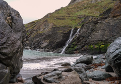 Tintagel falls (Tim Ravenscroft) Tags: waterfall beach rocks cliffs tintagel hasselblad hasselbladx1d x1d