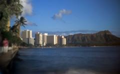 Waikiki pinhole (OzzRod) Tags: pentax k1 pinhole homemadepinhole waikiki diamondhead hawaii sea water wave seawall palmtree hotels volcano vacation tropics