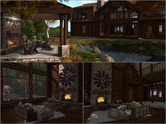 Laurel Ridge Collage: Galland Homes (MadsPhotoFreak) Tags: galland homes log cabin laurel ridge pavillion rustic home secondlife sl second virtual autumn fall
