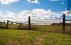 Roadside in NJ (SMPhotos2548) Tags: fence nj newjersey blueskies clouds post gardenstate field