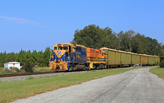 Coming into Newville (GLC 392) Tags: alabama abbeville railroad railway train wood chips the bay line bayl new england central necr 4049 emd gp401 gw 2319 gp392 newville roller coaster sky tree grass forest us