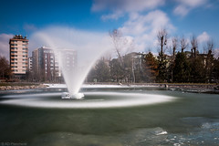 Iced cone? (The Frustrated Photog (Anthony) ADPphotography) Tags: category eskisehir flickrpost kanlikavakpark landscape places travel turkey longexposure citypark fountain waterblur sky bluesky winter ice snow frozen freeze cold water canon1585mm canon canon70d outdoor travelphotography park tree pond