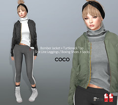 COCO New Release @Uber November 25th (cocoro Lemon) Tags: coco newrelease uber bomber jacket turtleneck leggings boxing shoes socks fitted mesh secondlife fashion maitreya slink