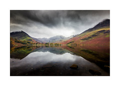 Buttermere and Haystacks (muddybootsuk) Tags: buttermere autumn reflections pines landscape colours clouds mist mountains drama atmoshpere lakedistrict muddybootsmfleetwithpike redpike scarthgappass warnscalebottom greyknotts cumbria wainwright greatbritain england unitedkingom cannon600d sigma1020mm