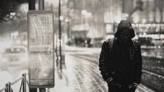 it's raining again (frax[be]) Tags: streetphotography street atmosphere 58mm rokkor fuji xe3 monochrome noiretblanc outdoor urban city night noir bnw bw blackandwhite rain bokeh blackwhitephotos