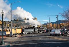 Crossing Main Avenue (std70040) Tags: durangosilverton durango denverriogrande denverandriogrande k36 steam steamlocomotive steamengine steamtrain levelcrossing gradecrossing