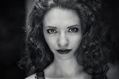 I see you..... (Kati471) Tags: iseeyou ichsehedich portrait blackwhite schwarzweiss face gesicht eyes augen locken curls
