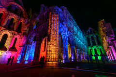 Multi coloured illuminations at Whitby Abbey (Mister Electron) Tags: nikond800 northyorkshire whitby whitbyabbey yorkshire colour evening illuminated illuminations night vibrant lighting halloween