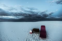 Night is falling on White Sands. Someone left his bed and picnic on the dune (rvjak) Tags: nouveaumexique usa whitesands etatsunis dune d750 nikon sky desert travel united states cloud ciel nuage noir black step landscape